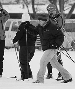 Members of the Nordic Ski Team practice skiing outside of the Knowles Center last year.