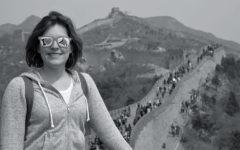 Kristin Klimeck poses at the Great Wall of China.