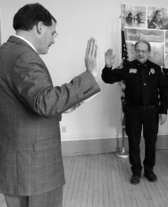 Right is Dick Trende swearing in new officers with Chancellor Dean Van Galen Tuesday, Feb. 4.