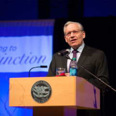 Bob Woodward speaks in the University Center about his career as a journalist for his keynote address for the third annual UWRF Rising to Distinction Scholarship Benefit.