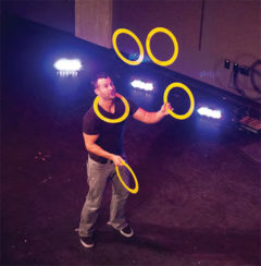 Ivan Pecel, also known as 'Ivan the Juggler,' from Los Angeles, California, entertained UW-River Falls students on Saturday, Oct. 4, during Homecoming.
