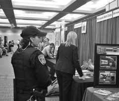 River Falls Police Officer Lesa Woitas patrols the Career Fair and acts as security for the booths on Wednesday, Oct. 15.