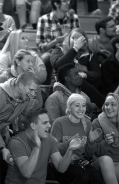 Part of the record breaking crowd cheers on the UWRF women's basketball team.