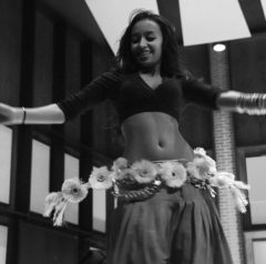 """An Ethiopian dancer has the crowd clapping and cheering at """"Africa Night"""" in the Kleinpell Fine Arts building on Friday, Feb. 27."""