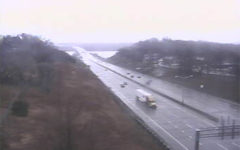 As seen by a Minnesota Department of Transportation camera, midmorning Thursday traffic moves along Interstate 94 near the bridge over the St. Croix River at Hudson. (Screen capture)