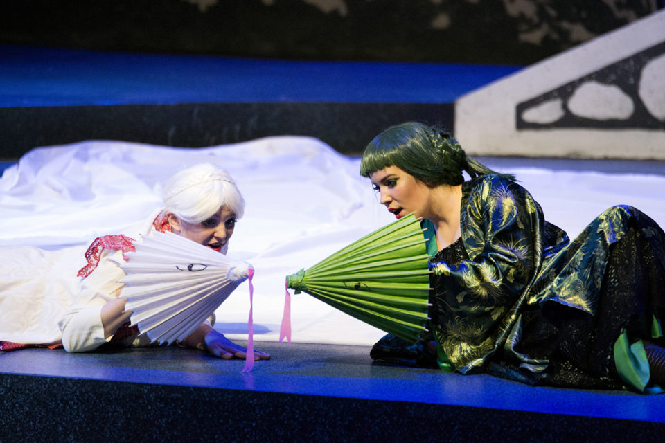 Emma Johnson (left) and Phelan Pattern (right) play the white and green snakes in The White Snake. (Tori Schneider/Student Voice)