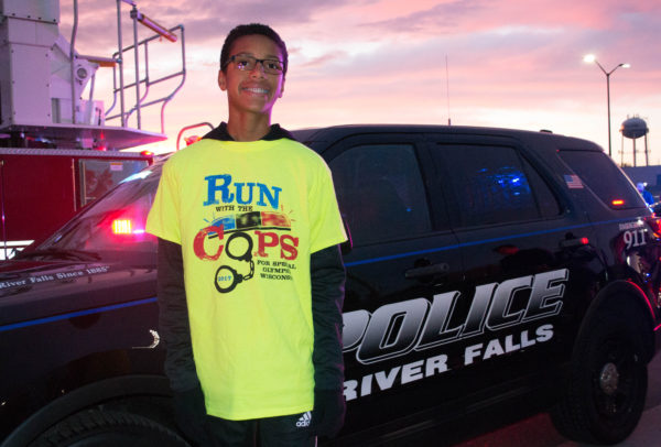 Seventh-grade Special Olympics athlete Isaiah Kasay is anxiously waiting to begin his race with police at Ramer Field on Oct. 10. Nathan Lukasavitz/Falcon News Service.