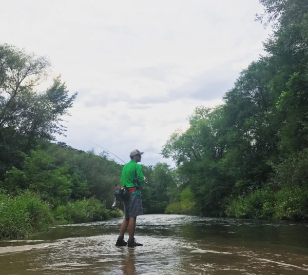 Cody Rajewski, of Bay City, MI, fly fishes on the Kinnickinnic River, August 5. Photo by Tori Schneider/Student Voice