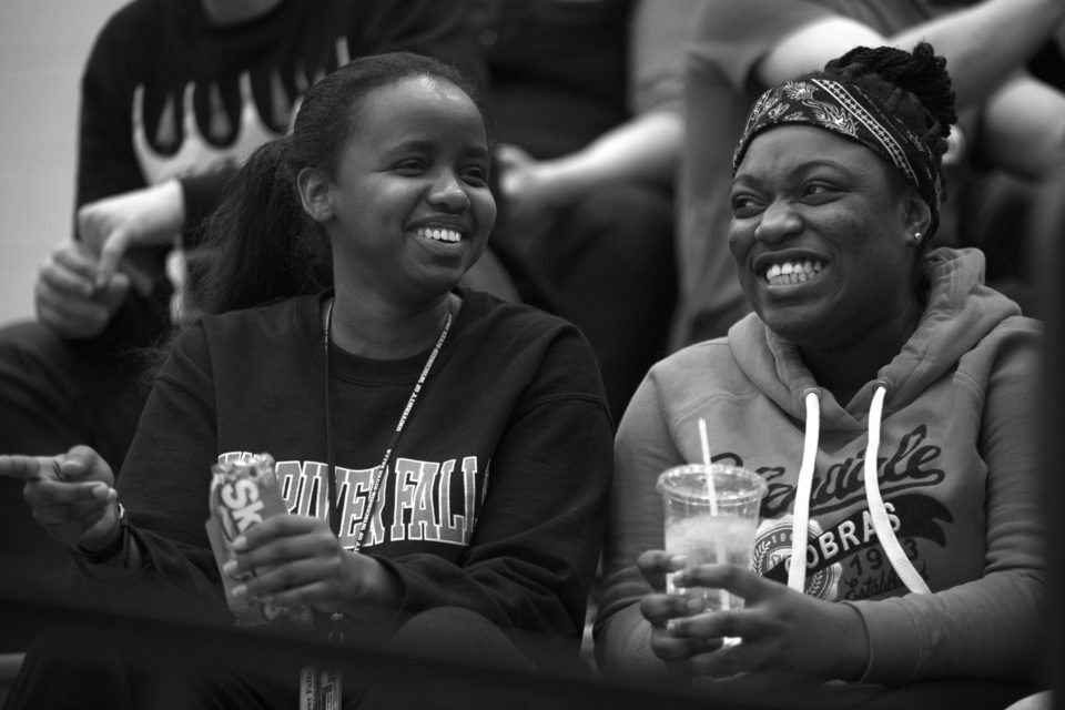 Ibrahim has made a few Muslim friends in her dorm and has met other friends through the Pathways and Aspire programs, such as Stella Folly, right, also a freshman.