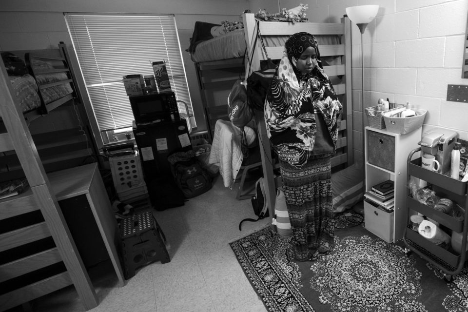 With the remodeling of Rodli Hall beginning in the spring, there will soon be a prayer room for students to use on campus, but for now, Ibrahim has a designated area in her dorm room that she uses to pray with a rug called a salli.