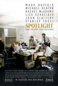 Spotlight, released in 2015, stars Mark Ruffalo, Michael Keaton and Rachel McAdams.