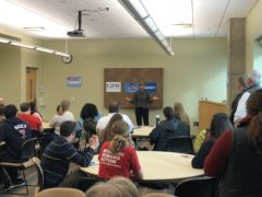 Sen. Tammy Baldwin speaks to students and community members of River Falls. (Photo by Theo Tollefson)