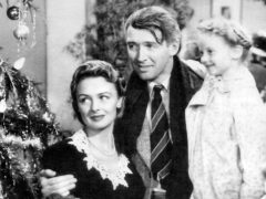 "Donna Reed, Jimmy Stewart and Karolyn Grimes starred in the 1946 film ""It's a Wonderful Life."""