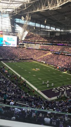 U.S. Bank Stadium near full capacity for the Vikings home game against the Dolphins.