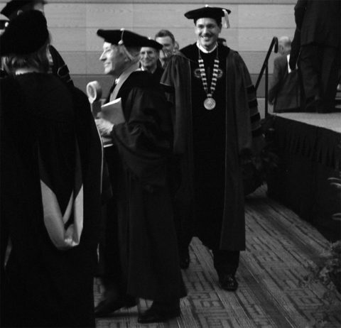 Although he became chancellor in 2009, Dean van Galen's inauguration did not take place until the spring of 2010. Here, van Galen (right) walks in the ceremony procession. (Sally King / Student Voice)