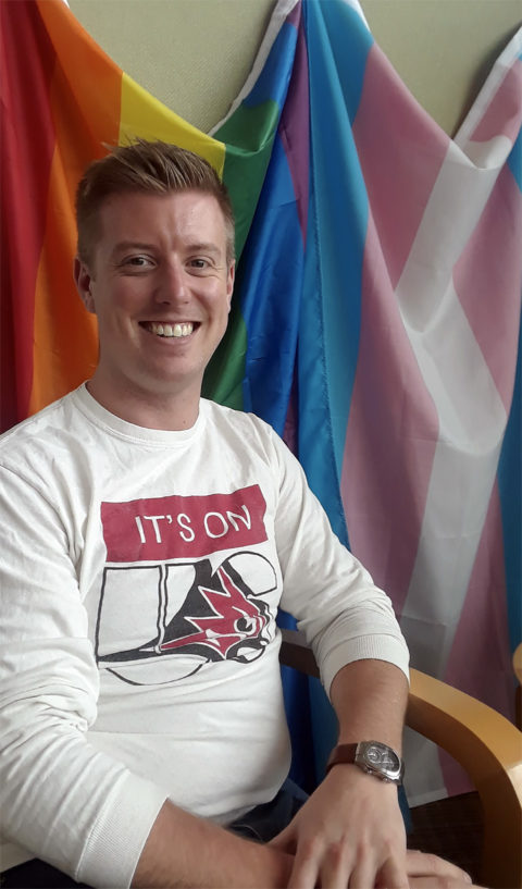 Nathan Riel-Elness is the gender and sexuality outreach coordinator at UW-River Falls. (Kacey Joslin/Student Voice)