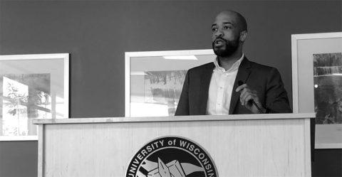 Lt. Gov. Mandela Barnes speaks to press at UW-River Falls. (Theodore Tollefson / Student Voice)