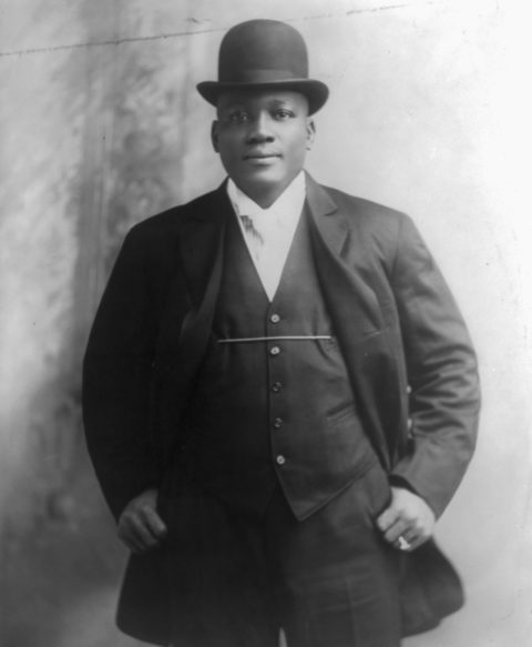 Jack Johnson, who was the world heavyweight boxing champion from 1908-1915, is the subject of a presentation April 19 by Samuel Gale, an adjunct instructor at UW-River Falls. (Library of Congress Prints and Photographs Division)