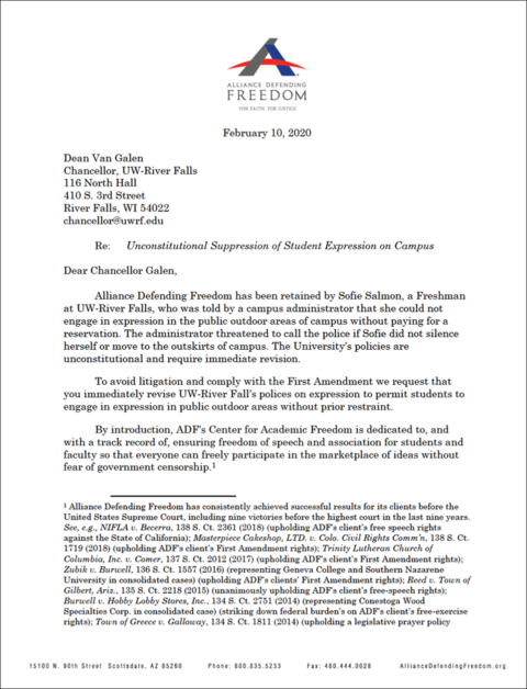 Letter from Alliance Defending Freedom