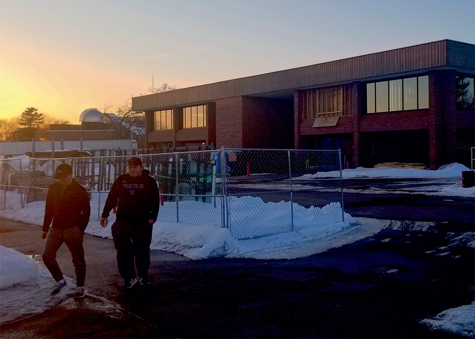The sun sets on the Rodli construction site. (Dawson Flaherty/Student Voice)